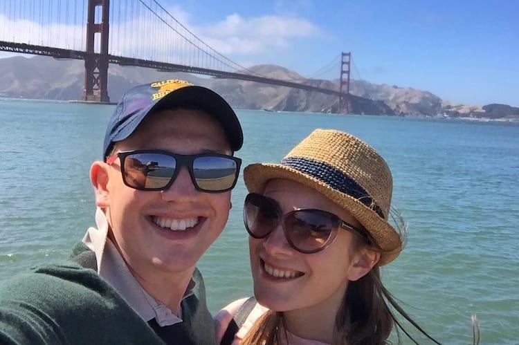 Daniil and Eugenia at the Golden Gate Bridge